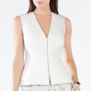 BCBGMAXAZRIA Abegayle Peplum White Top Size XXS